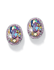 Aurora Borealis & Pinkcubic zirconia Earrings by PalmBeach Jewelry