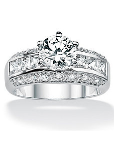 Round and Princess-Cutcubic zirconia Ring by PalmBeach Jewelry