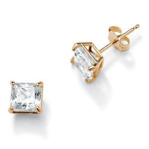 Princess-Cutcubic zirconia Pierced Earrings