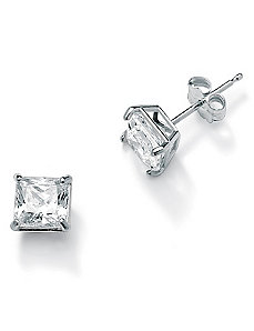 Princess-Cutcubic zirconia Pierced Earrings by PalmBeach Jewelry