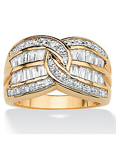Cubic Zirconia Interlocking Ring by PalmBeach Jewelry