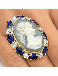 Blue Cameo-Style Ring by PalmBeach Jewelry