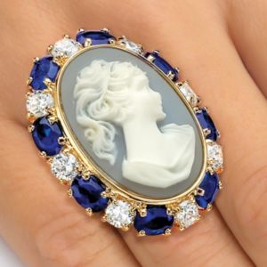 Blue Cameo-Style Ring