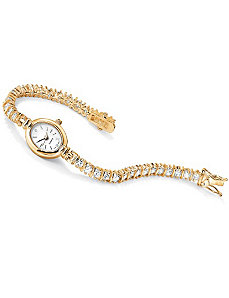 Cubic Zirconia Tennis Bracelet Watch by PalmBeach Jewelry