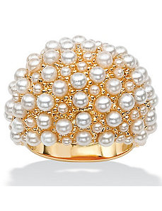 Simulated Pearl Cluster Dome Ring by PalmBeach Jewelry