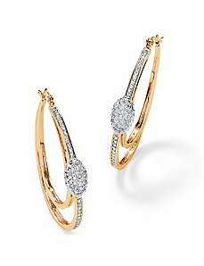 Cubic Zirconia Oval Hoop Earrings by PalmBeach Jewelry