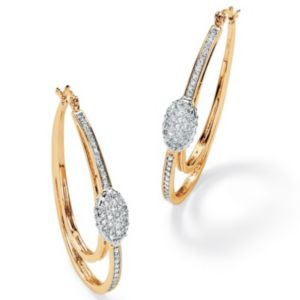 Cubic Zirconia Oval Hoop Earrings