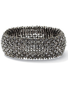 Grey Multi-Crystal Stretch Bracelet by PalmBeach Jewelry