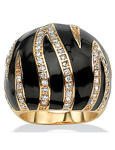 Cubic Zirconia Enamel Dome Ring by PalmBeach Jewelry