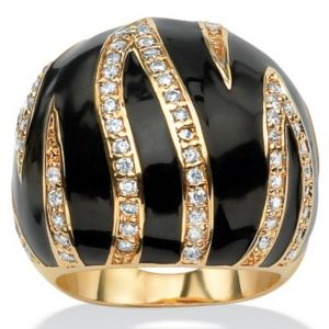Cubic Zirconia Enamel Dome Ring