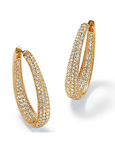 Oval Inside-Outcubic zirconia Huggie Earrings by PalmBeach Jewelry