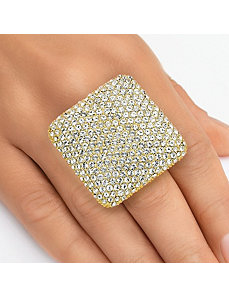 Pave-Set Crystal Square Ring by PalmBeach Jewelry