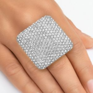 Pave-Set Crystal Square Ring