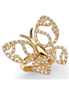 Cubic Zirconia Butterfly Ring by PalmBeach Jewelry