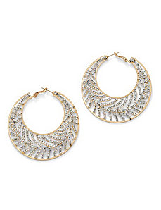 Crystal Leaf Hoop Pierced Earrings by PalmBeach Jewelry