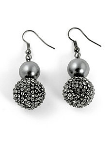 Simulated Pearl/Crystal Earrings by PalmBeach Jewelry