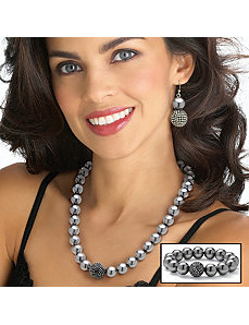 Simulated Pearl/Crystal Jewelry Set by PalmBeach Jewelry