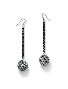 Grey Crystal Ball Drop Earrings by PalmBeach Jewelry