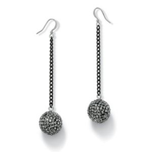 Grey Crystal Ball Drop Earrings