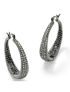 Black & Whitecubic zirconia Pierced Earrings by PalmBeach Jewelry