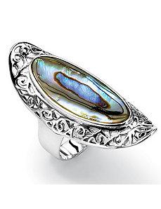 Oval-Shaped Abalone Ring by PalmBeach Jewelry