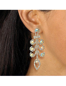 Crystal Chandelier Pierced Earrings by PalmBeach Jewelry