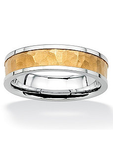 Hammered-Style Tutone Wedding Band by PalmBeach Jewelry