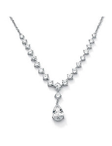 "Round & Pear-Shapedcubic zirconia""Y""Necklace by PalmBeach Jewelry"