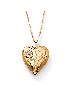 Floral Motif Locket Pendant by PalmBeach Jewelry