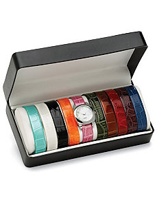 Interchangeable Strap Watch Set by PalmBeach Jewelry