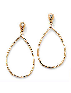 Cubic Zirconia Hoop Drop Pierced Earrings by PalmBeach Jewelry