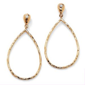 Cubic Zirconia Hoop Drop Pierced Earrings