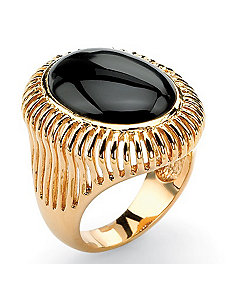 Oval-Shaped Onyx Ring by PalmBeach Jewelry