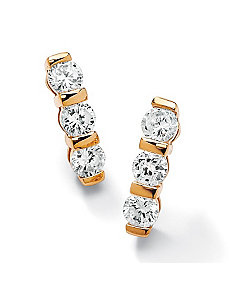 Channel-Set Cubic Zirconia Pierced Earrings by PalmBeach Jewelry