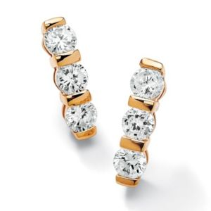 Channel-Set Cubic Zirconia Pierced Earrings