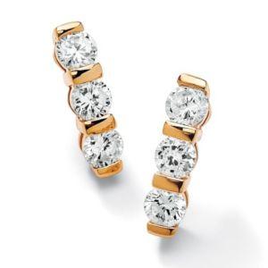 Channel-Set Cubic Zirconia Pierced Earrings