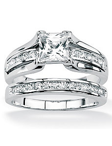 Two-Piece cubic zirconia Ring Set by PalmBeach Jewelry