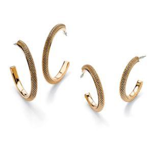 Set of Mesh Hoop Pierced Earrings