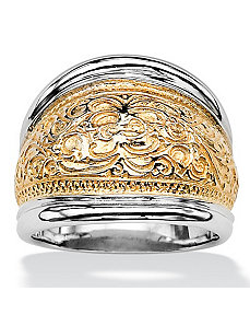 Milgrain Scroll Cigar Band Ring by PalmBeach Jewelry