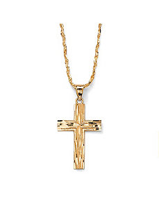 Diamond-Cut Cross Pendant by PalmBeach Jewelry
