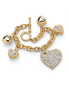 Crystal Multi-Heart Charm Bracelet by PalmBeach Jewelry