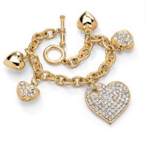 Crystal Multi-Heart Charm Bracelet