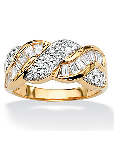 Round and Baguettecubic zirconia Ring by PalmBeach Jewelry