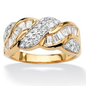 Round and Baguettecubic zirconia Ring