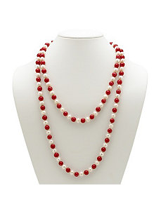 Red and White Pearl Necklace by PalmBeach Jewelry