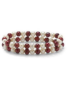 Red and White Pearl Bracelet Set by PalmBeach Jewelry