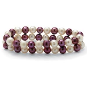 Purple and White Pearl Bracelet Set