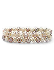Lavender/White Pearl Bracelet Set by PalmBeach Jewelry