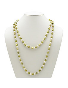 Green and White Pearl Necklace by PalmBeach Jewelry