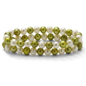 Green and White Pearl Bracelet Set